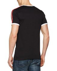 New-Look-Red-Sports-Tape-Ringer-T-Shirt-Homme-Noir-M-0-0
