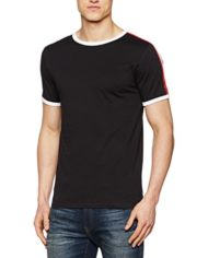 New-Look-Red-Sports-Tape-Ringer-T-Shirt-Homme-Noir-M-0